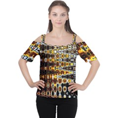 Bright Yellow And Black Abstract Women s Cutout Shoulder Tee
