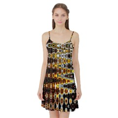 Bright Yellow And Black Abstract Satin Night Slip