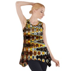 Bright Yellow And Black Abstract Side Drop Tank Tunic