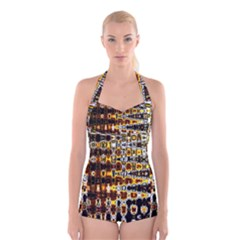 Bright Yellow And Black Abstract Boyleg Halter Swimsuit