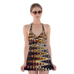 Bright Yellow And Black Abstract Halter Swimsuit Dress