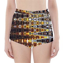 Bright Yellow And Black Abstract High Waisted Bikini Bottoms