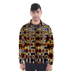 Bright Yellow And Black Abstract Wind Breaker (Men)