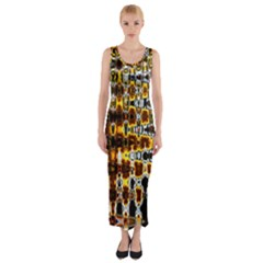 Bright Yellow And Black Abstract Fitted Maxi Dress