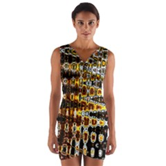 Bright Yellow And Black Abstract Wrap Front Bodycon Dress