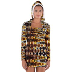Bright Yellow And Black Abstract Women s Long Sleeve Hooded T-shirt