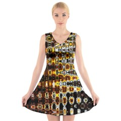 Bright Yellow And Black Abstract V Neck Sleeveless Skater Dress