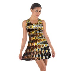 Bright Yellow And Black Abstract Cotton Racerback Dress