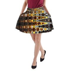 Bright Yellow And Black Abstract A Line Pocket Skirt