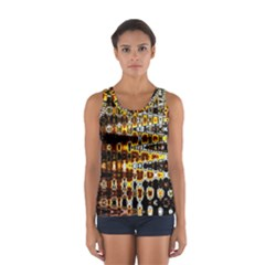Bright Yellow And Black Abstract Women s Sport Tank Top