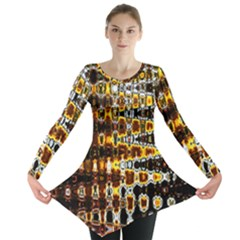 Bright Yellow And Black Abstract Long Sleeve Tunic