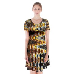 Bright Yellow And Black Abstract Short Sleeve V-neck Flare Dress