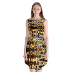 Bright Yellow And Black Abstract Sleeveless Chiffon Dress
