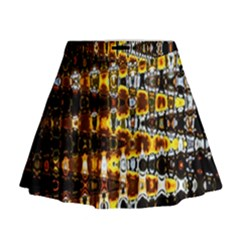 Bright Yellow And Black Abstract Mini Flare Skirt