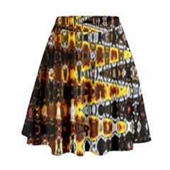 Bright Yellow And Black Abstract High Waist Skirt