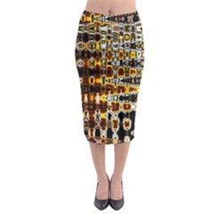 Bright Yellow And Black Abstract Midi Pencil Skirt