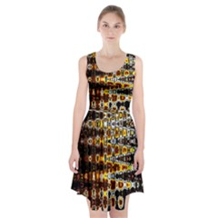 Bright Yellow And Black Abstract Racerback Midi Dress