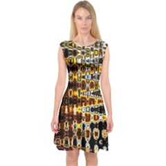 Bright Yellow And Black Abstract Capsleeve Midi Dress
