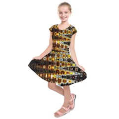 Bright Yellow And Black Abstract Kids  Short Sleeve Dress