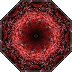 Red Fractal Valley In 3d Glass Frame Hook Handle Umbrellas (Large)