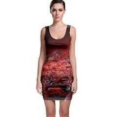 Red Fractal Valley In 3d Glass Frame Sleeveless Bodycon Dress