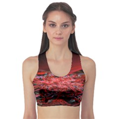 Red Fractal Valley In 3d Glass Frame Sports Bra