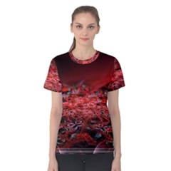 Red Fractal Valley In 3d Glass Frame Women s Cotton Tee