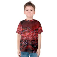 Red Fractal Valley In 3d Glass Frame Kids  Cotton Tee