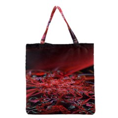 Red Fractal Valley In 3d Glass Frame Grocery Tote Bag