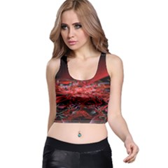Red Fractal Valley In 3d Glass Frame Racer Back Crop Top
