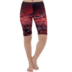 Red Fractal Valley In 3d Glass Frame Cropped Leggings