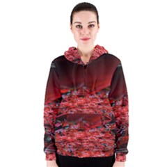 Red Fractal Valley In 3d Glass Frame Women s Zipper Hoodie