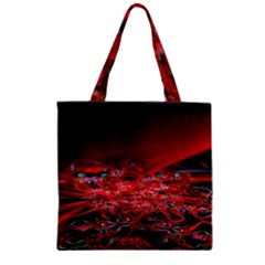 Red Fractal Valley In 3d Glass Frame Zipper Grocery Tote Bag