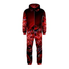 Red Fractal Valley In 3d Glass Frame Hooded Jumpsuit (kids)