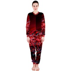 Red Fractal Valley In 3d Glass Frame OnePiece Jumpsuit (Ladies)