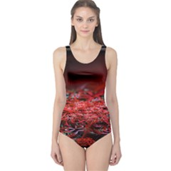 Red Fractal Valley In 3d Glass Frame One Piece Swimsuit