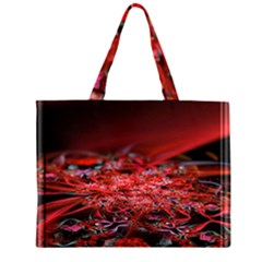 Red Fractal Valley In 3d Glass Frame Large Tote Bag