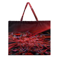 Red Fractal Valley In 3d Glass Frame Zipper Large Tote Bag