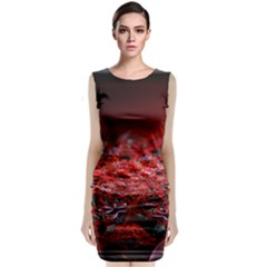 Red Fractal Valley In 3d Glass Frame Classic Sleeveless Midi Dress
