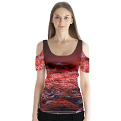 Red Fractal Valley In 3d Glass Frame Butterfly Sleeve Cutout Tee