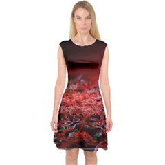 Red Fractal Valley In 3d Glass Frame Capsleeve Midi Dress