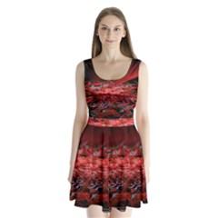 Red Fractal Valley In 3d Glass Frame Split Back Mini Dress