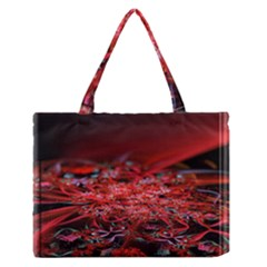 Red Fractal Valley In 3d Glass Frame Medium Zipper Tote Bag