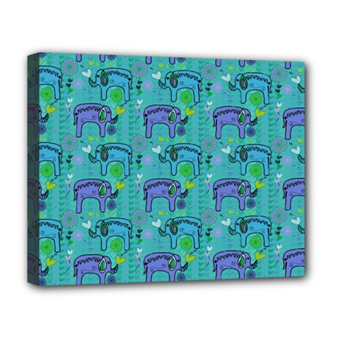 Elephants Animals Pattern Deluxe Canvas 20  x 16