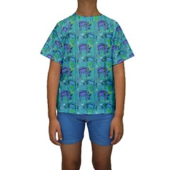 Elephants Animals Pattern Kids  Short Sleeve Swimwear