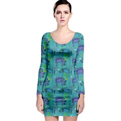 Elephants Animals Pattern Long Sleeve Bodycon Dress