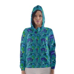 Elephants Animals Pattern Hooded Wind Breaker (women)