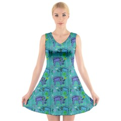 Elephants Animals Pattern V Neck Sleeveless Skater Dress