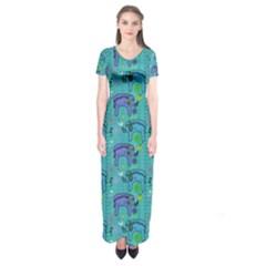 Elephants Animals Pattern Short Sleeve Maxi Dress