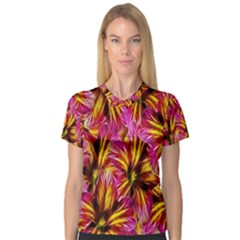 Floral Pattern Background Seamless Women s V-Neck Sport Mesh Tee